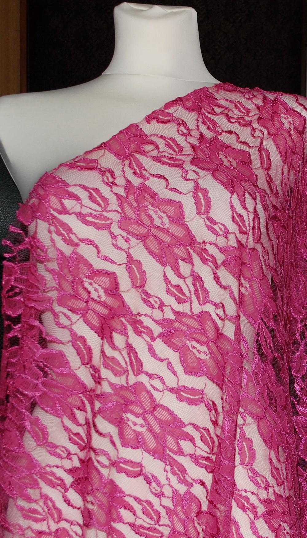 Krajka elastická květ 9104/02 tm.růžová